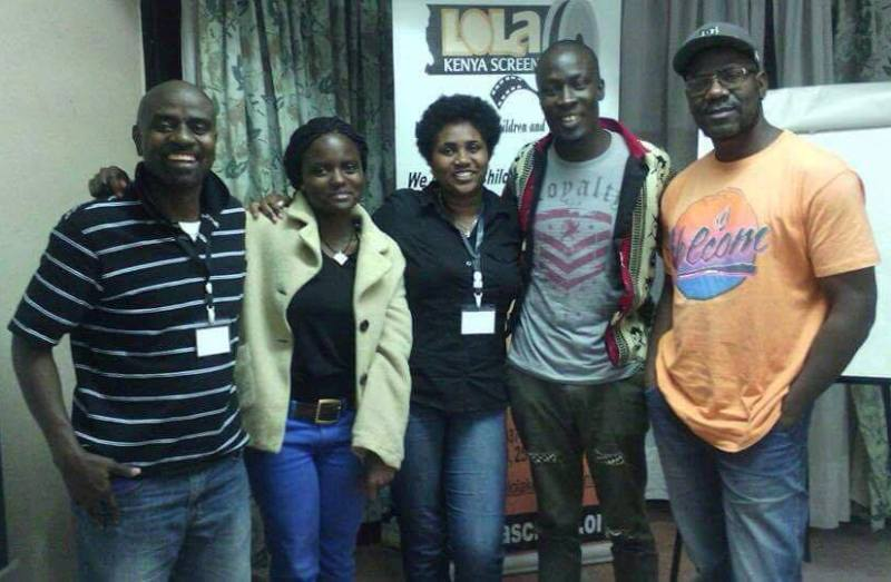 Akpor Otebele (left) with Daisy Okoti (Kenya), Mary Birdi (Tanzania), Kevin Ogolla (Kenya) and Phad Mutumba (Uganda) at Lola Kenya Screen in Nairobi in 2014.