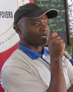 Moses Nyawanda speaks during a Cultural Stopovers event