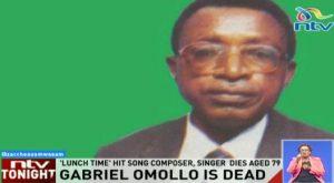 NTV breaks the news of musician Gabriel Omolo's death